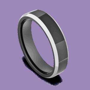 Sleek Black Ring for Men with Silver Bevelled Edges