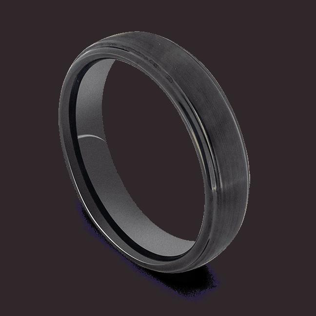 Stylish Black Ring for Men - Tungsten Carbide