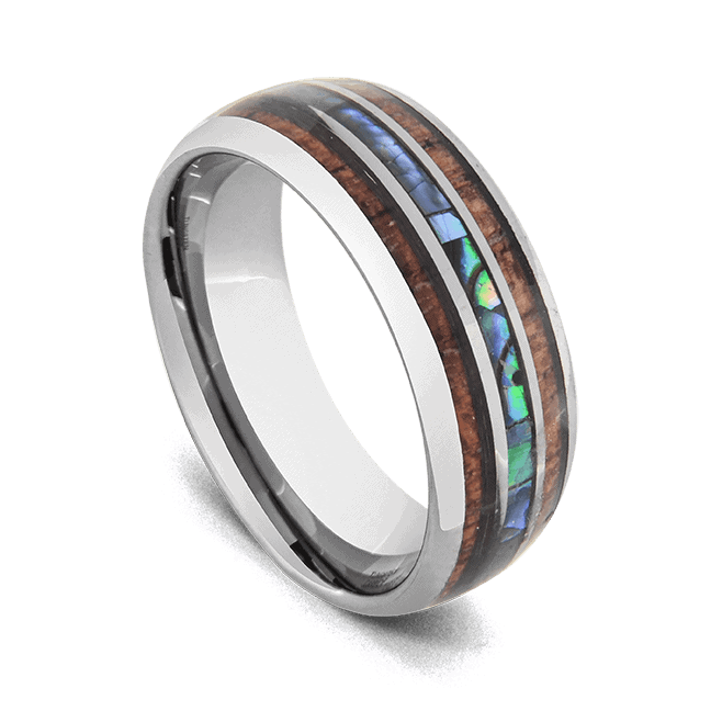 Men's Tungsten Ring - Natural Wood and Abalone Shell