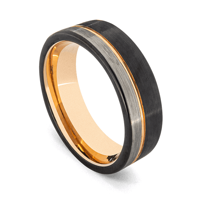 Men's Elegant Tungsten Ring - Black, Brushed Silver, and Gold