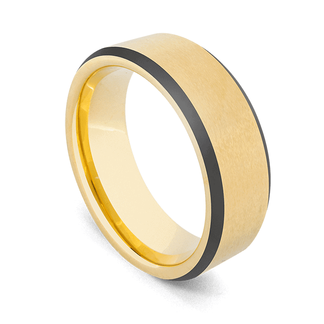 Gold Ring with Black Edges - Tungsten Carbide