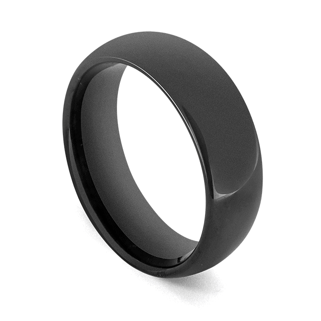 Men's Tungsten Ring - Polished Black, Dome Shaped Ring