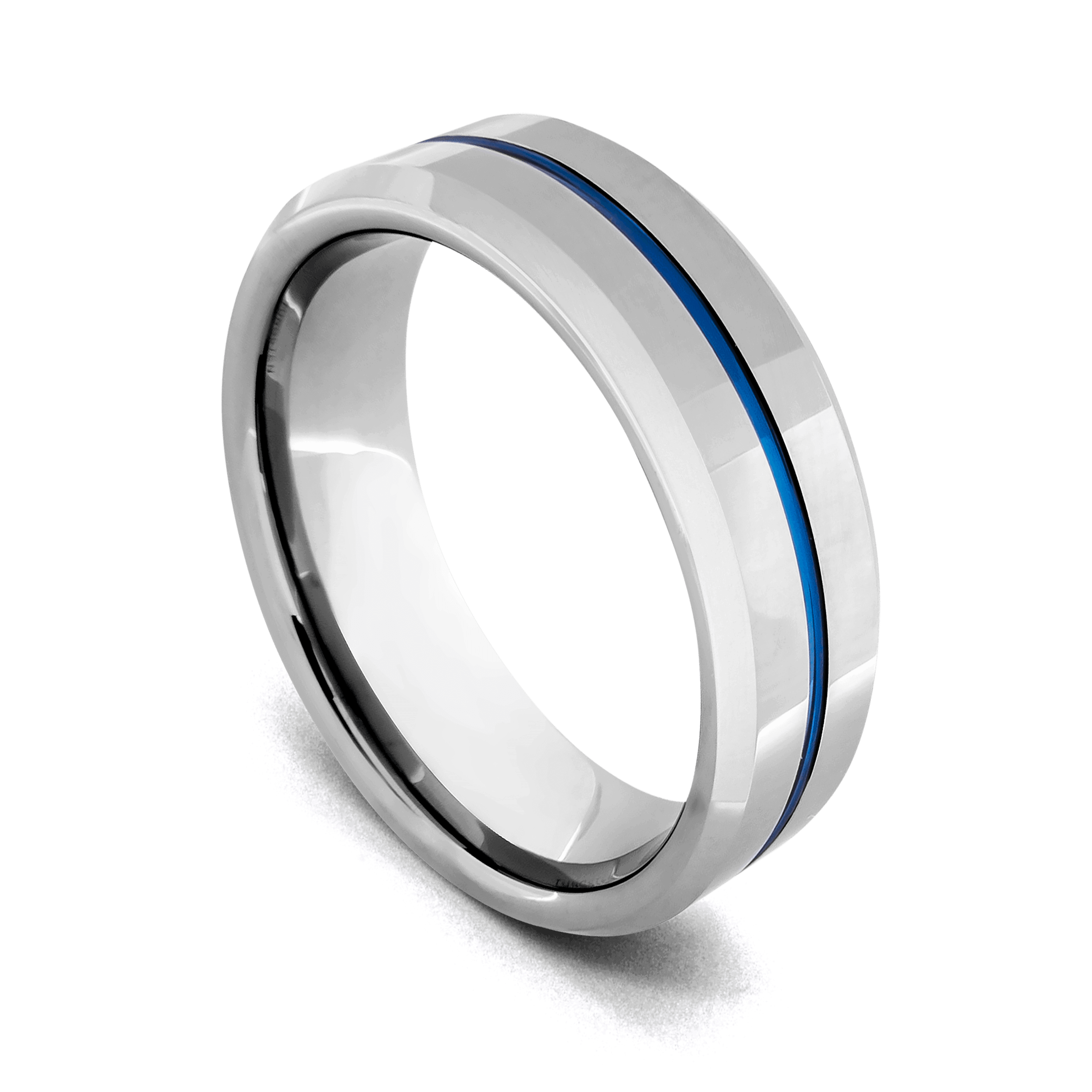 Men's Tungsten Carbide Ring - Silver with Vibrant Groove of Blue