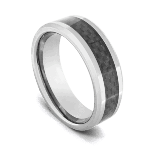 Men's Tungsten Ring - Polished Silver with Black and Grey Woven Pattern Inlay