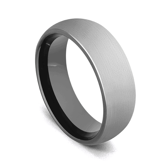 Men's Tungsten Ring - Brushed Silver with Black Edges and Interior