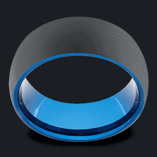 Matte Black Ring for Men with Cobalt Blue Interior