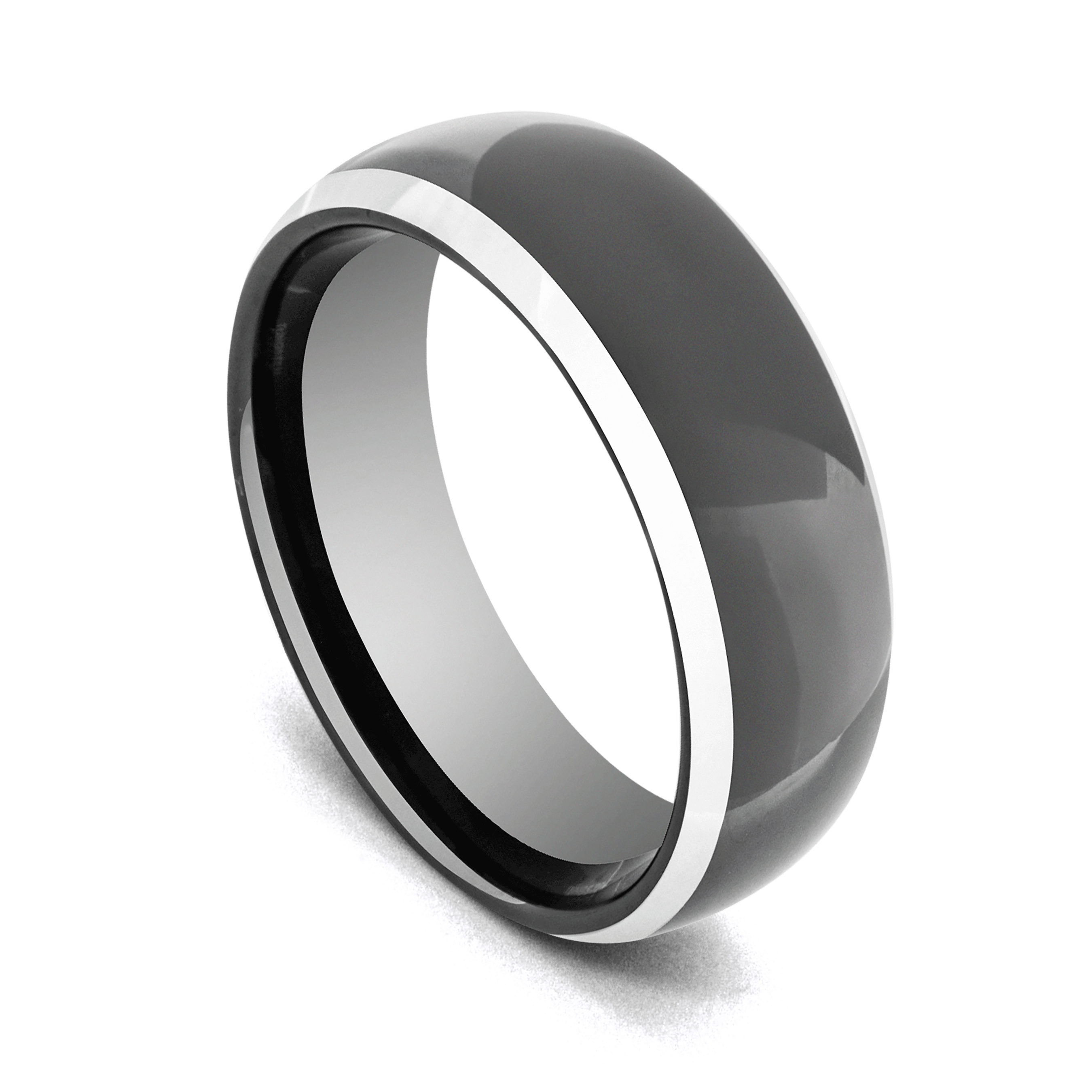 Gleaming Black Tungsten Ring with Silver Edges
