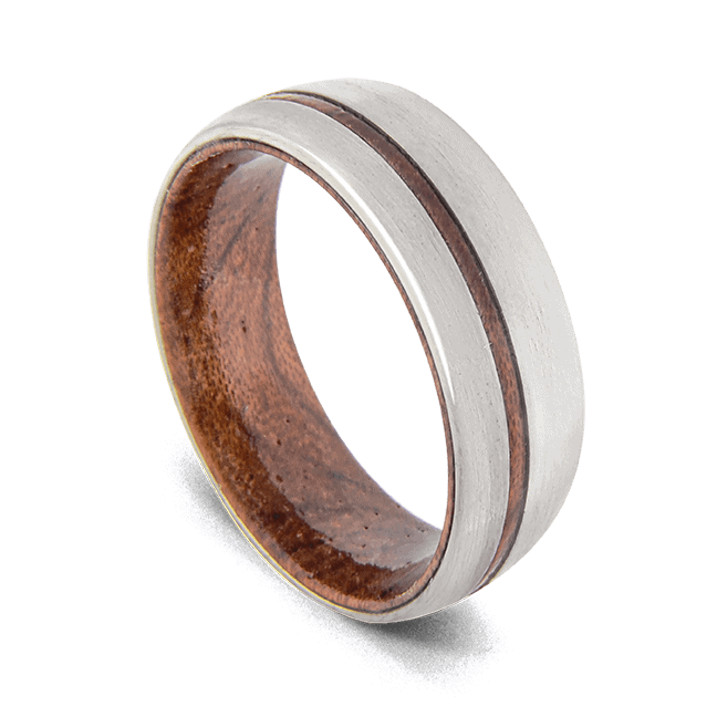 Men's Ring made with Natural Wood and Silver Titanium