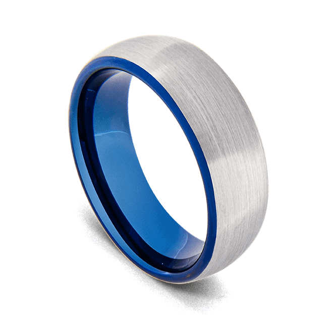 Brushed silver titanium ring with blue interior that can be seen at the edges when worn