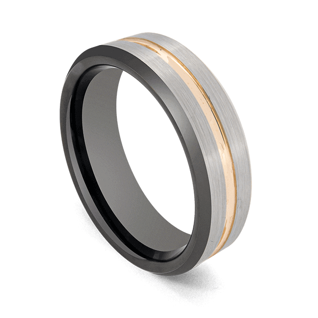 Men's Ring - Silver with Groove of Gold - Tungsten Carbide