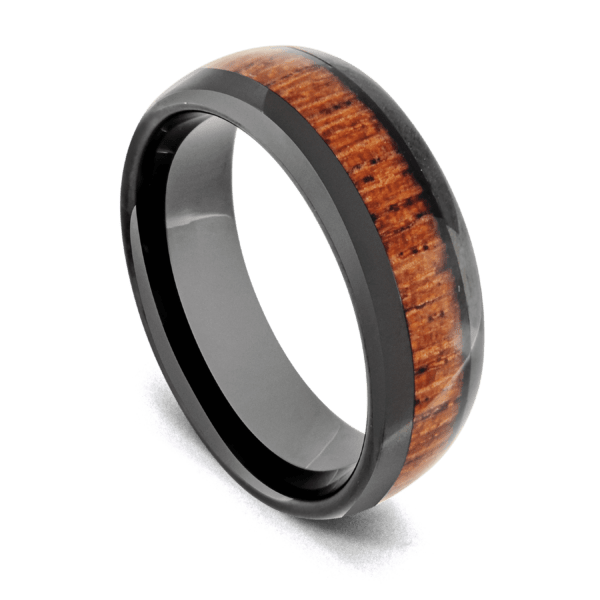 Black Tungsten Ring for Men with Natural Wood Inlay