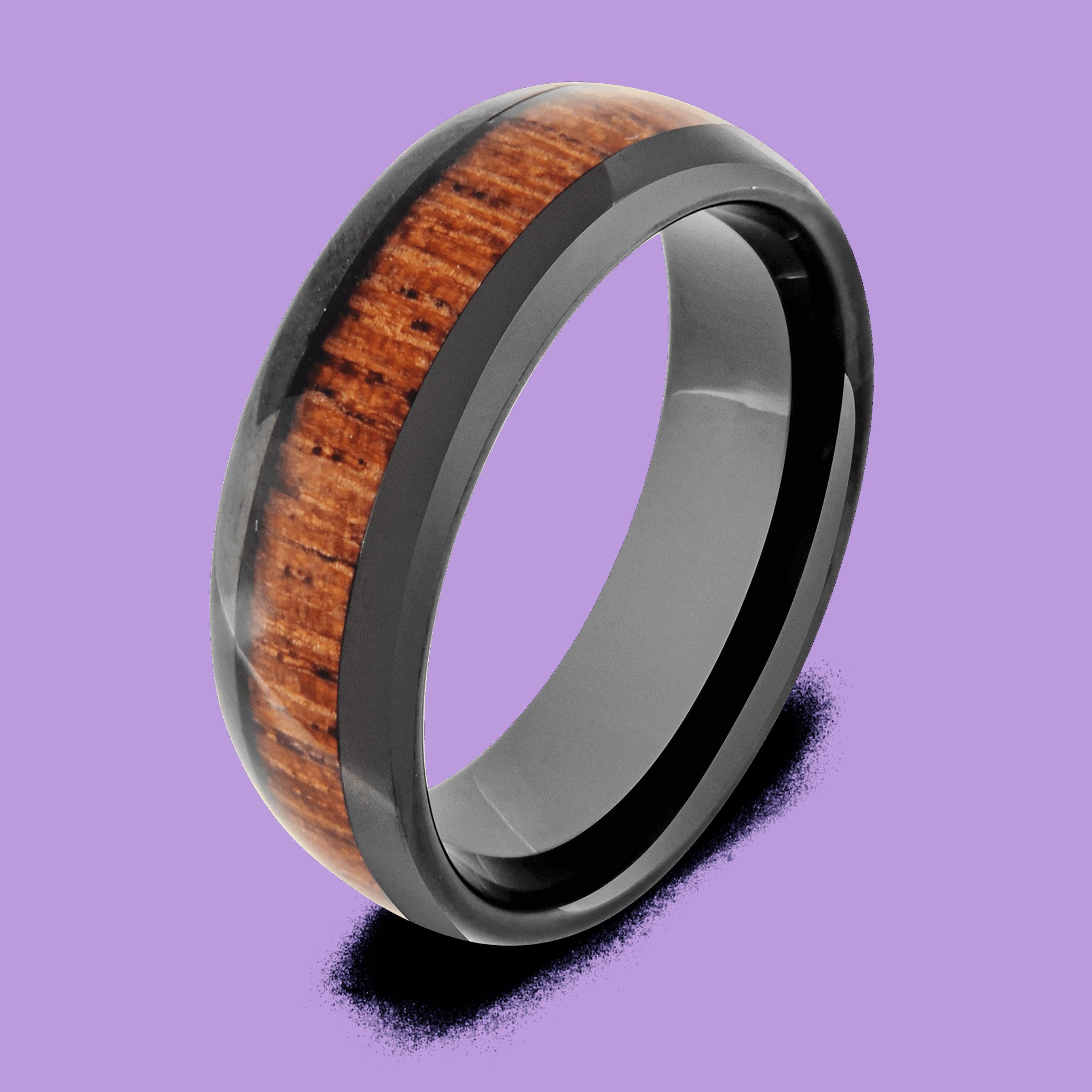 Black Ring with Natural Wood Inlay
