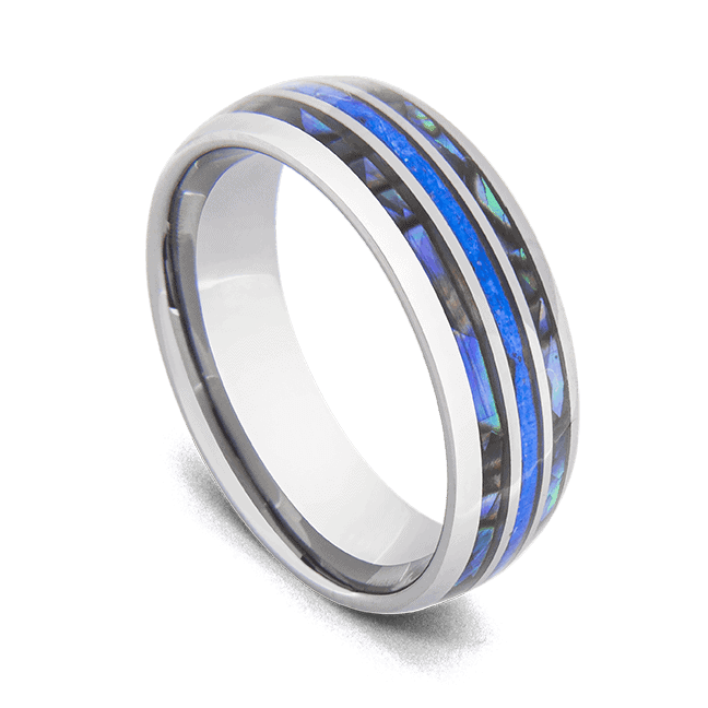 Men's Tungsten Ring - Silver with Blue Fire Opal and Abalone Shell