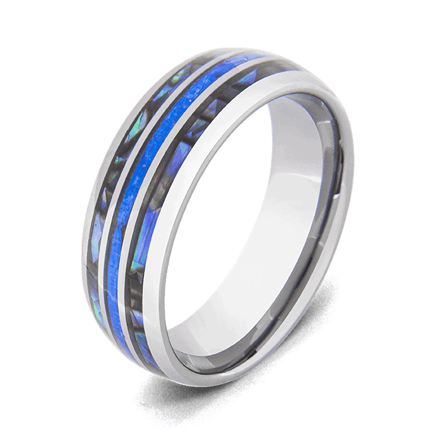 Men's Tungsten Ring with Blue Fire Opal and Abalone Shell Inlays