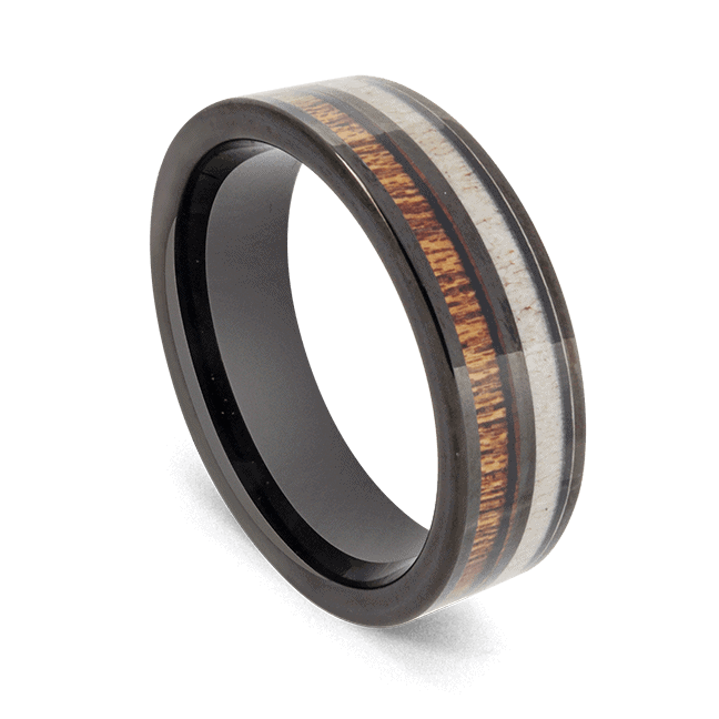 Deer Antler, Koa Wood, and Black Tungsten Carbide Ring for Men
