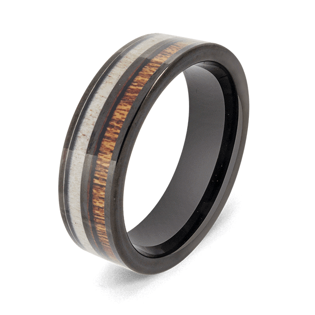 Men's Black Ring with Natural Wood and Antler Bone