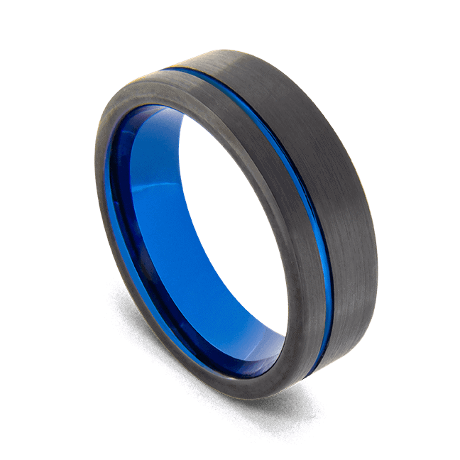 Men's Tungsten Ring - Matte Black with Groove of Brilliant Blue