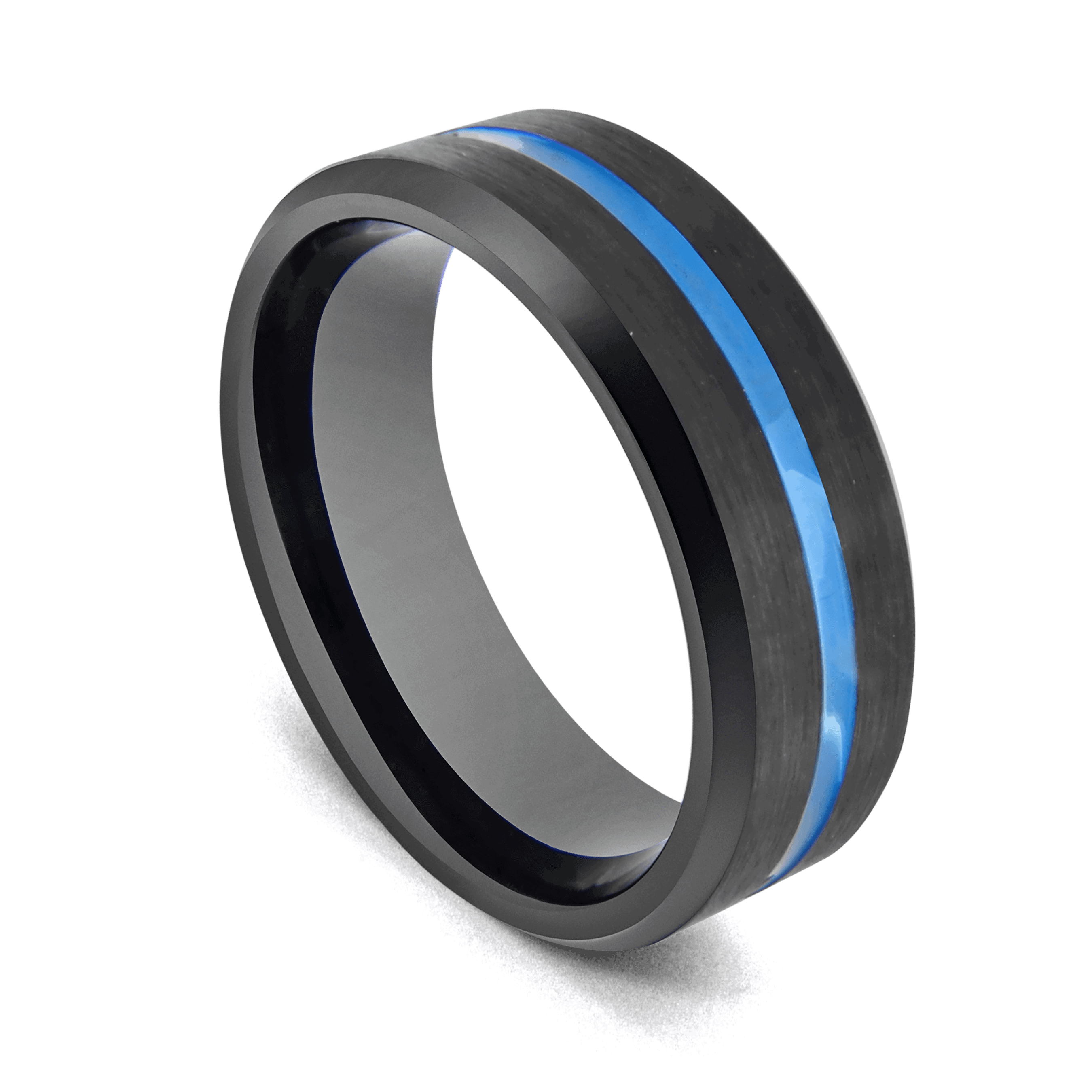black tungsten ring with blue band