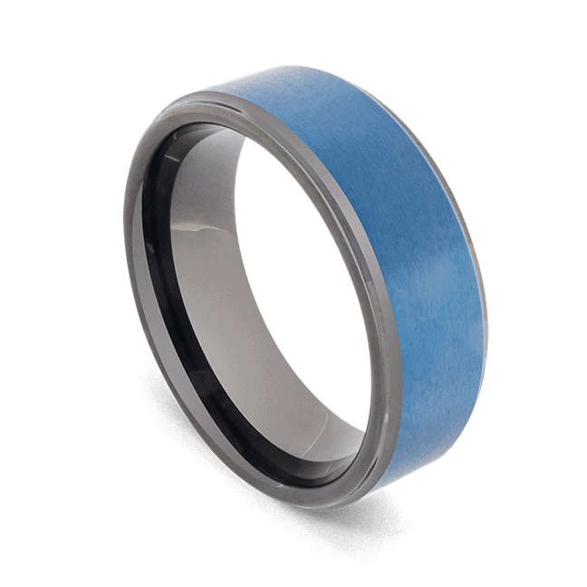 Tungsten Ring for Men - Black Ring with Blue