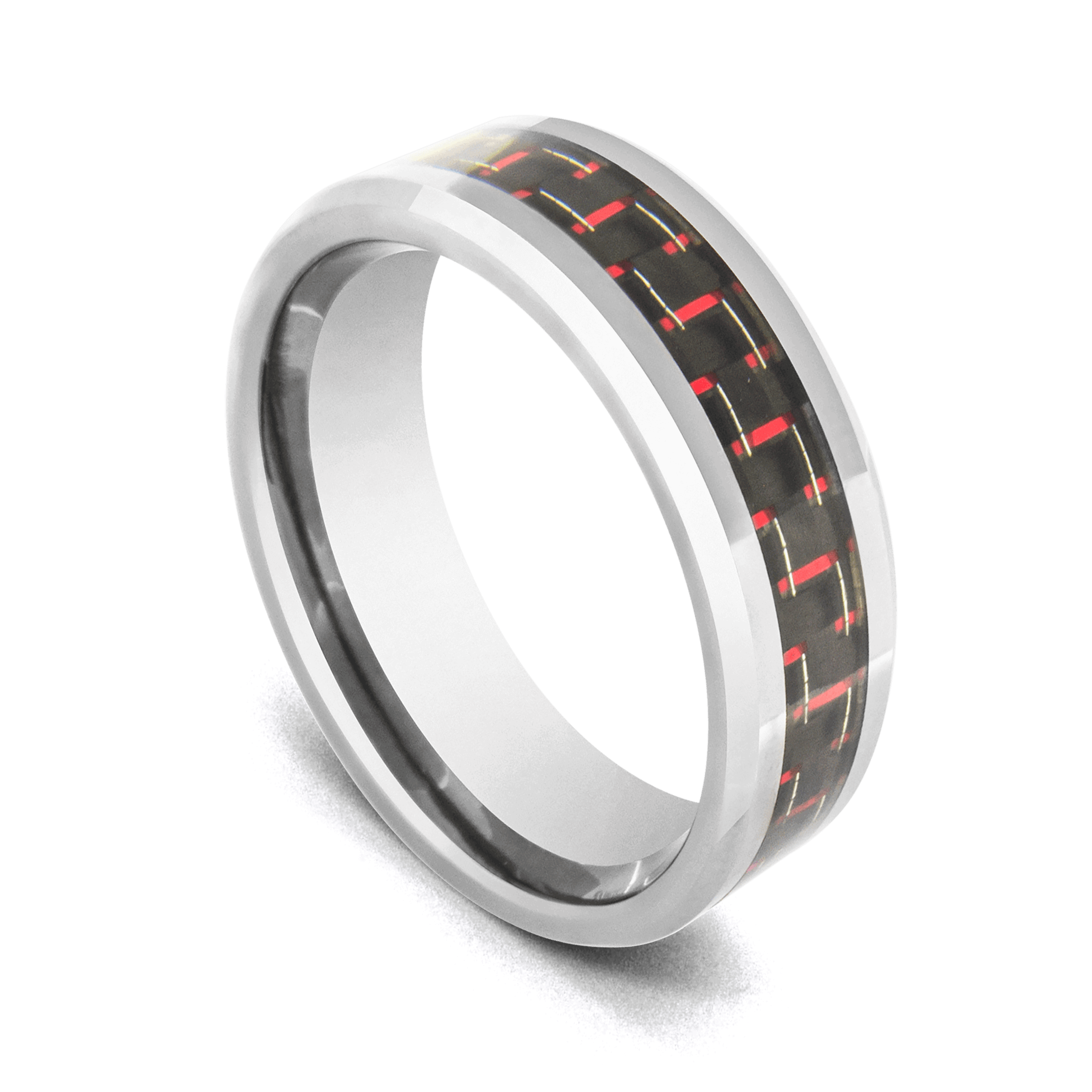 Silver Tungsten Ring for Men with Red and Black Woven Pattern Inlay