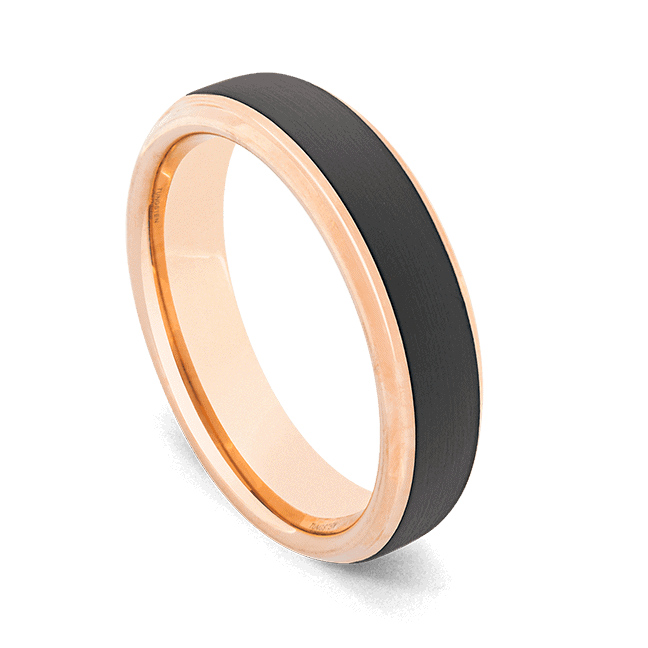 Men's Tungsten Ring - Sleek Black with Rose Gold Edges