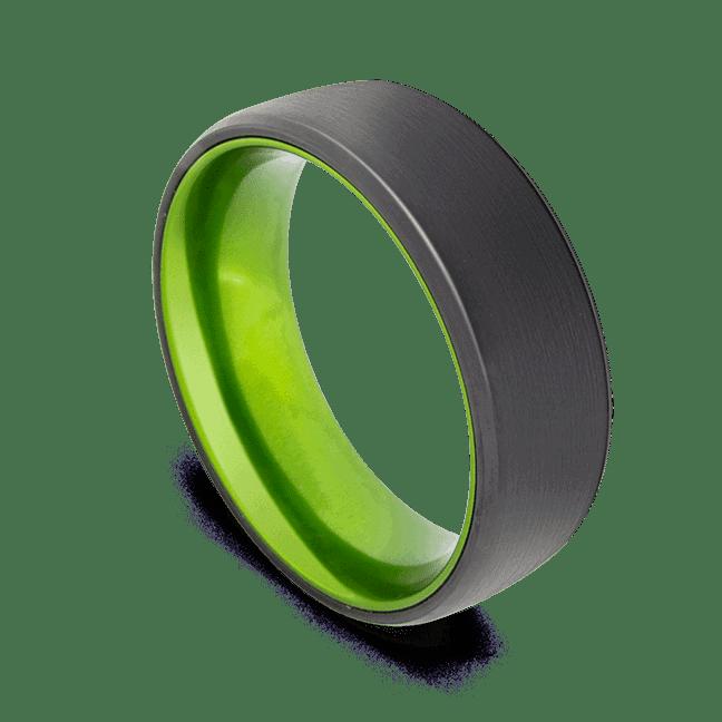Black Men's Ring with Vivid Green Interior