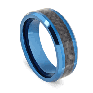 Blue Tungsten Ring with Plaid Black Centre