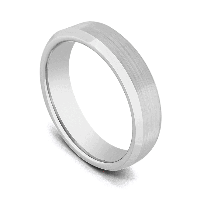 Tungsten Ring for Men - Brushed Matte Silver with Bevelled Polished Silver Edges