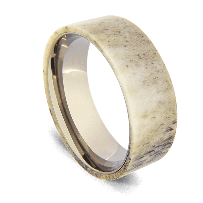 Men's Ring made with Naturally Shed Deer Antler and Titanium
