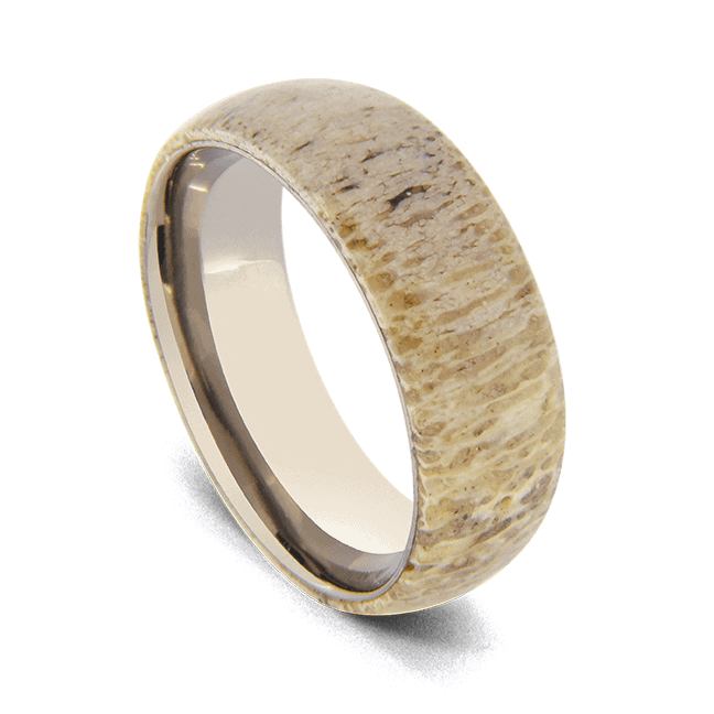 Silver Titanium Ring with Antler Bone