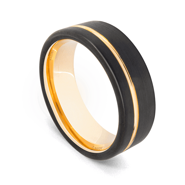 Men's Black Ring with Groove of Brilliant Gold