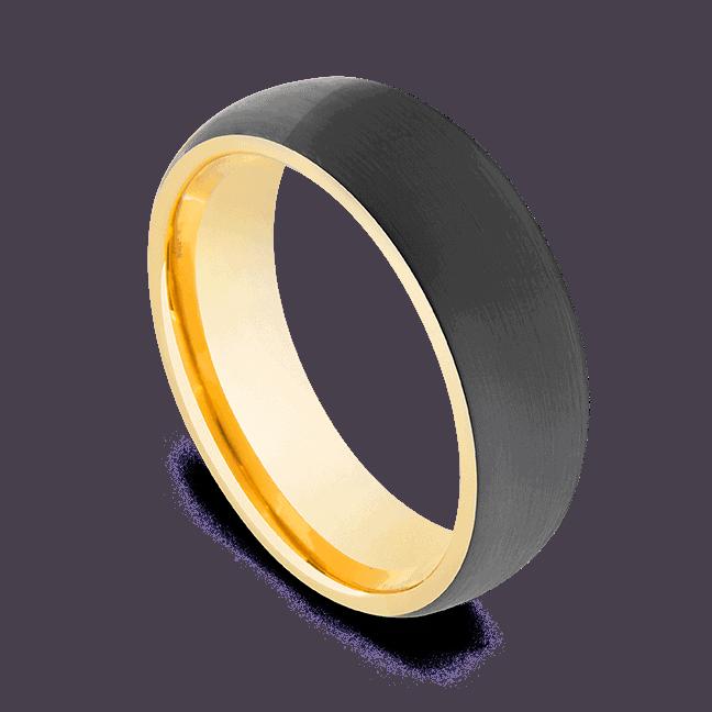 Men's Black Tungsten Ring with Gold Interior