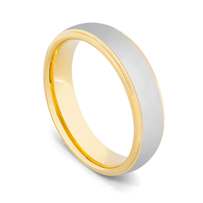Men's Ring - Brushed Silver with Polished Gold