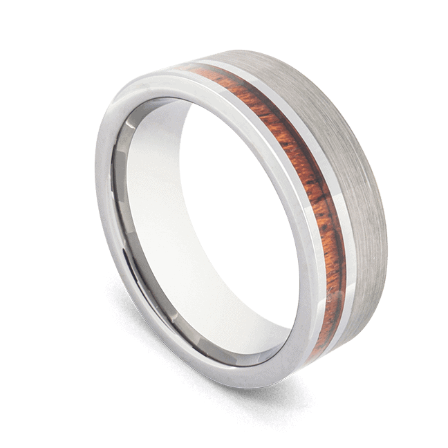 Men's Tungsten Silver Ring with Natural Wood
