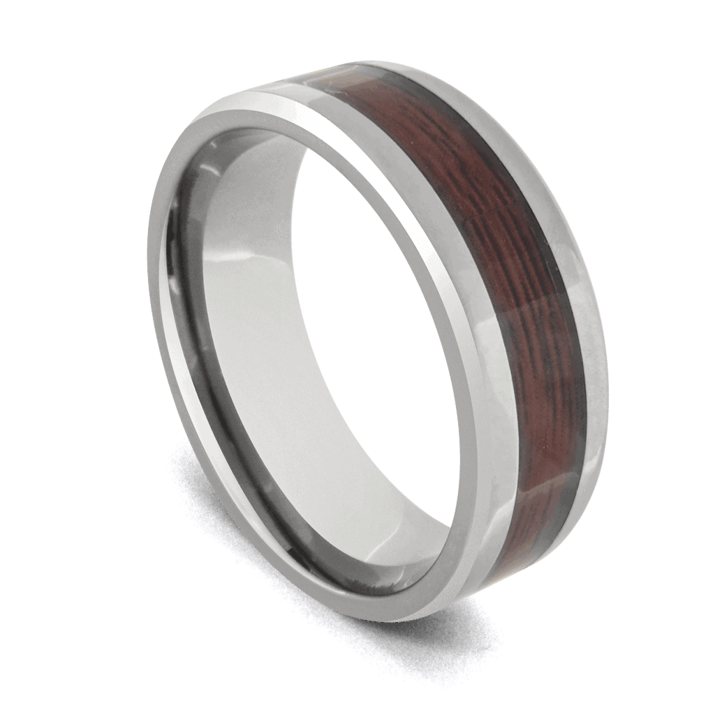 Silver Tungsten Men's Ring with Natural Wood Inlay
