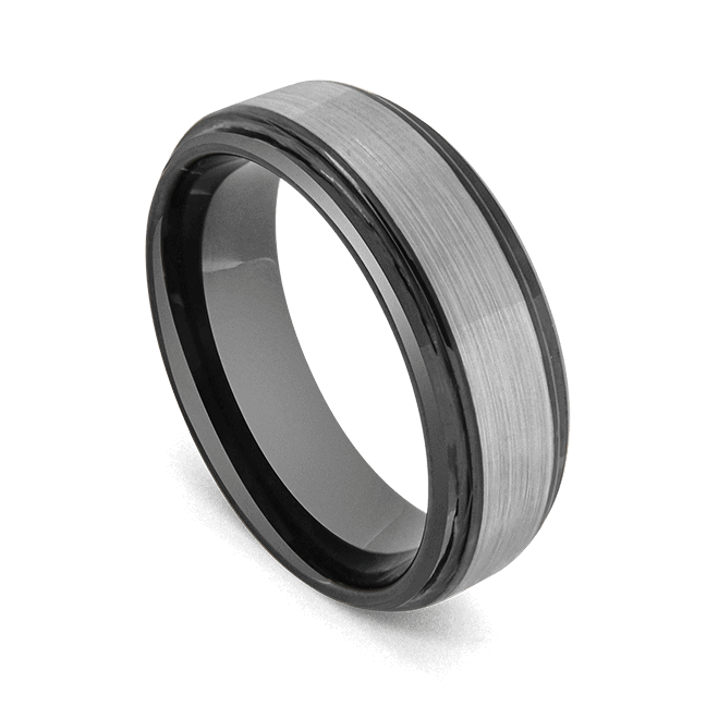 Men's Tungsten Carbide Ring - Brushed Silver with Black Edges and Interior