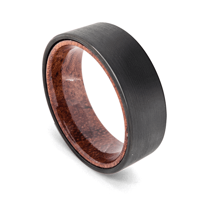 Men's Tungsten Ring - Brushed Black with Natural Wood
