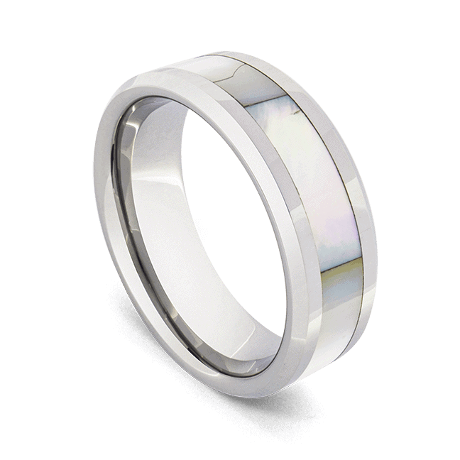 Men's Ring - Mother-of-Pearl set in Tungsten Carbide