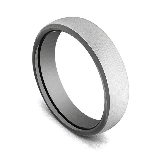 Men's Ring - Tungsten Carbide - Brushed Silver Domed Ring with Black Rims and Interior