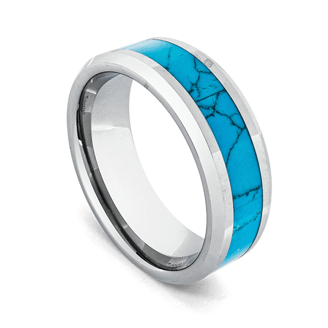Tungsten Ring for Men - Silver with Turquoise