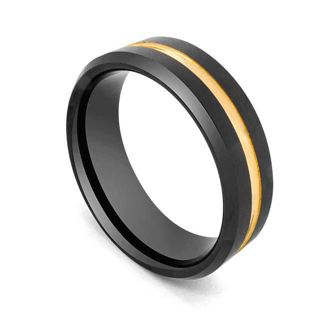 Men's Black Ring with Groove of Gold