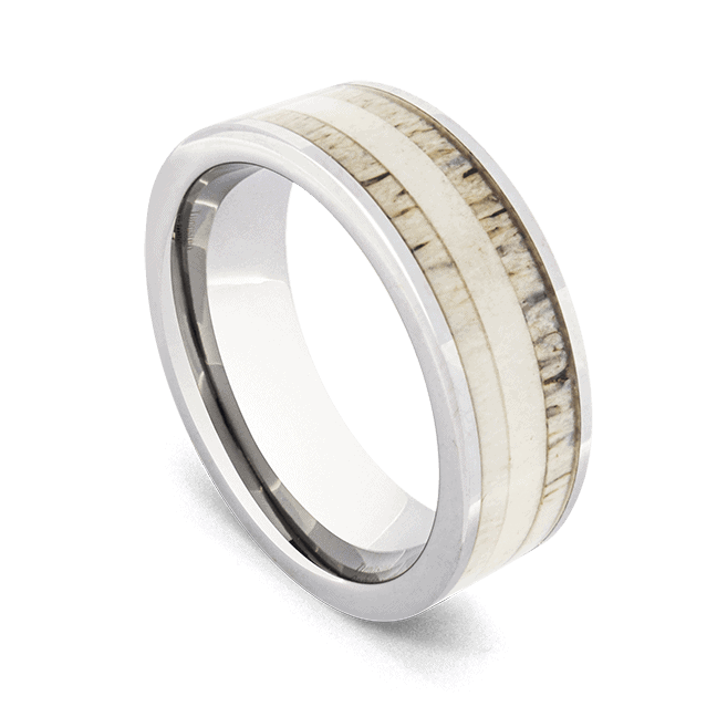 Silver Tungsten and Antler Bone Ring for Men