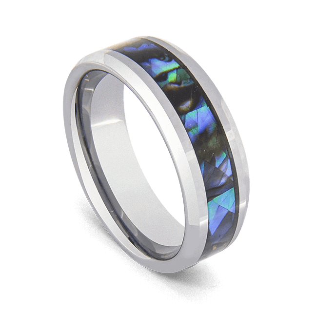 Men's Tungsten Ring with inlay of Abalone Shell