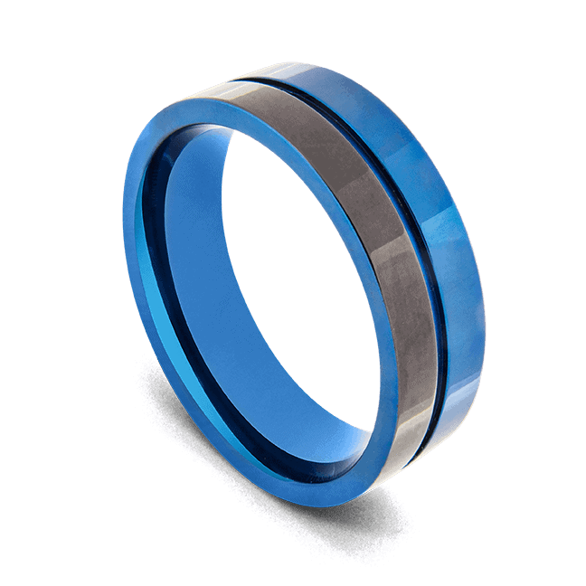 Men's Titanium Ring - Polished Black and Blue