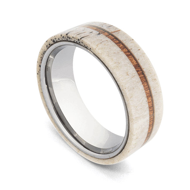 Tungsten Ring for men incorporating naturally shed antler bone and wood