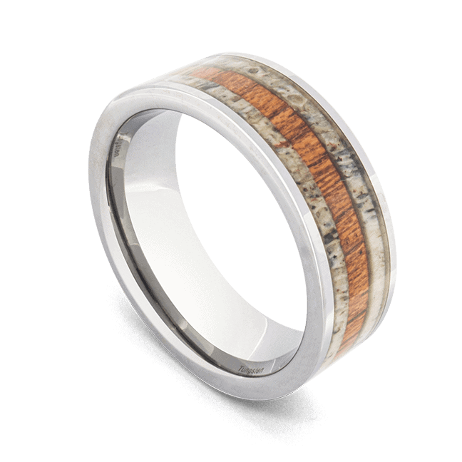 Natural Wood and Antler Bone Men's Ring