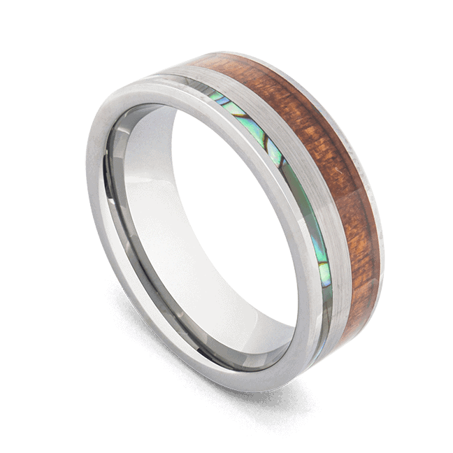 Men's Tungsten Ring with Koa Wood, Abalone Shell, and Brushed Silver