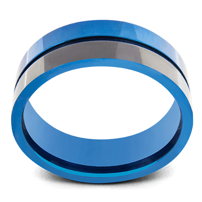 Black and Blue Ring for Men made with titanium