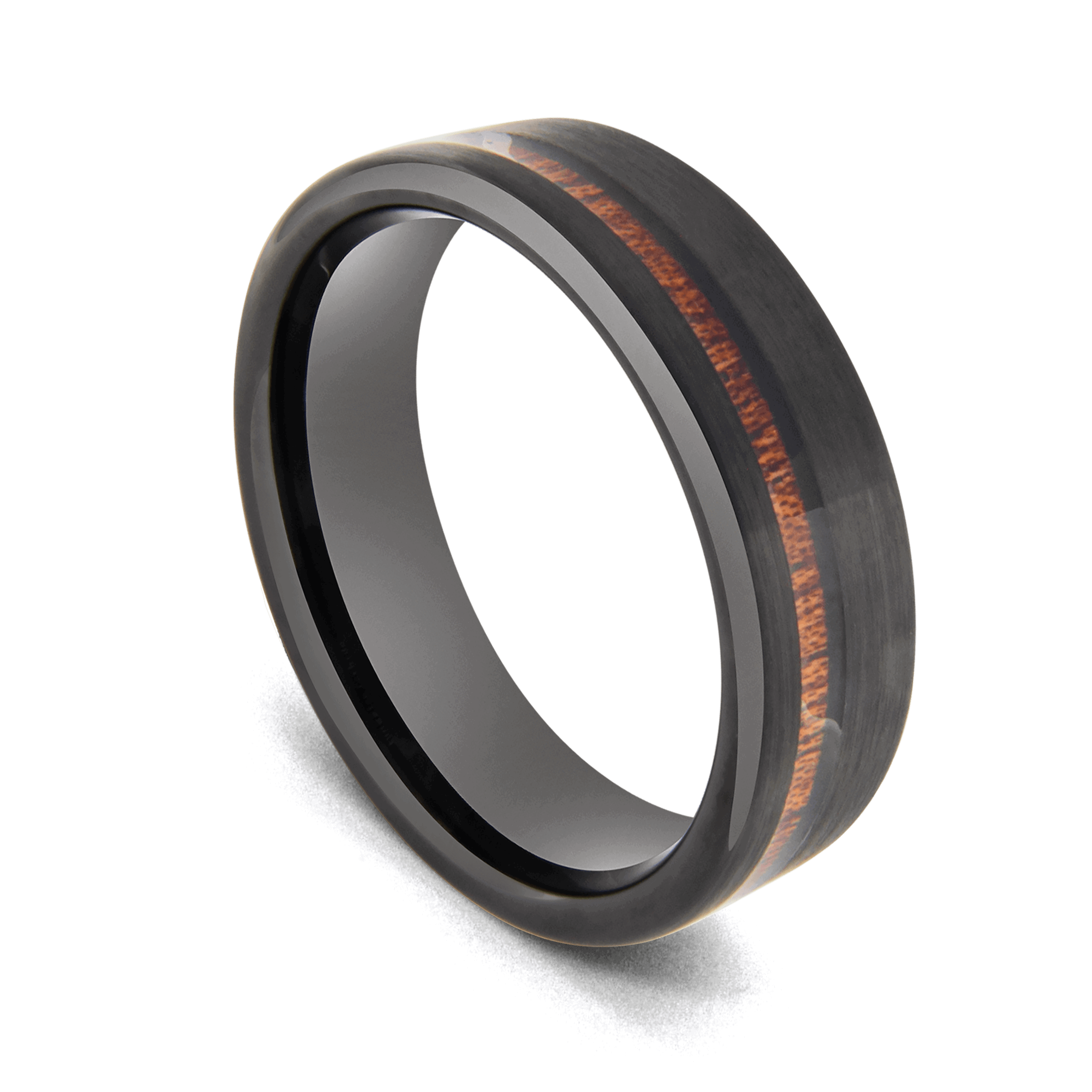 Men's Tungsten Ring - Black with Groove of Natural Wood