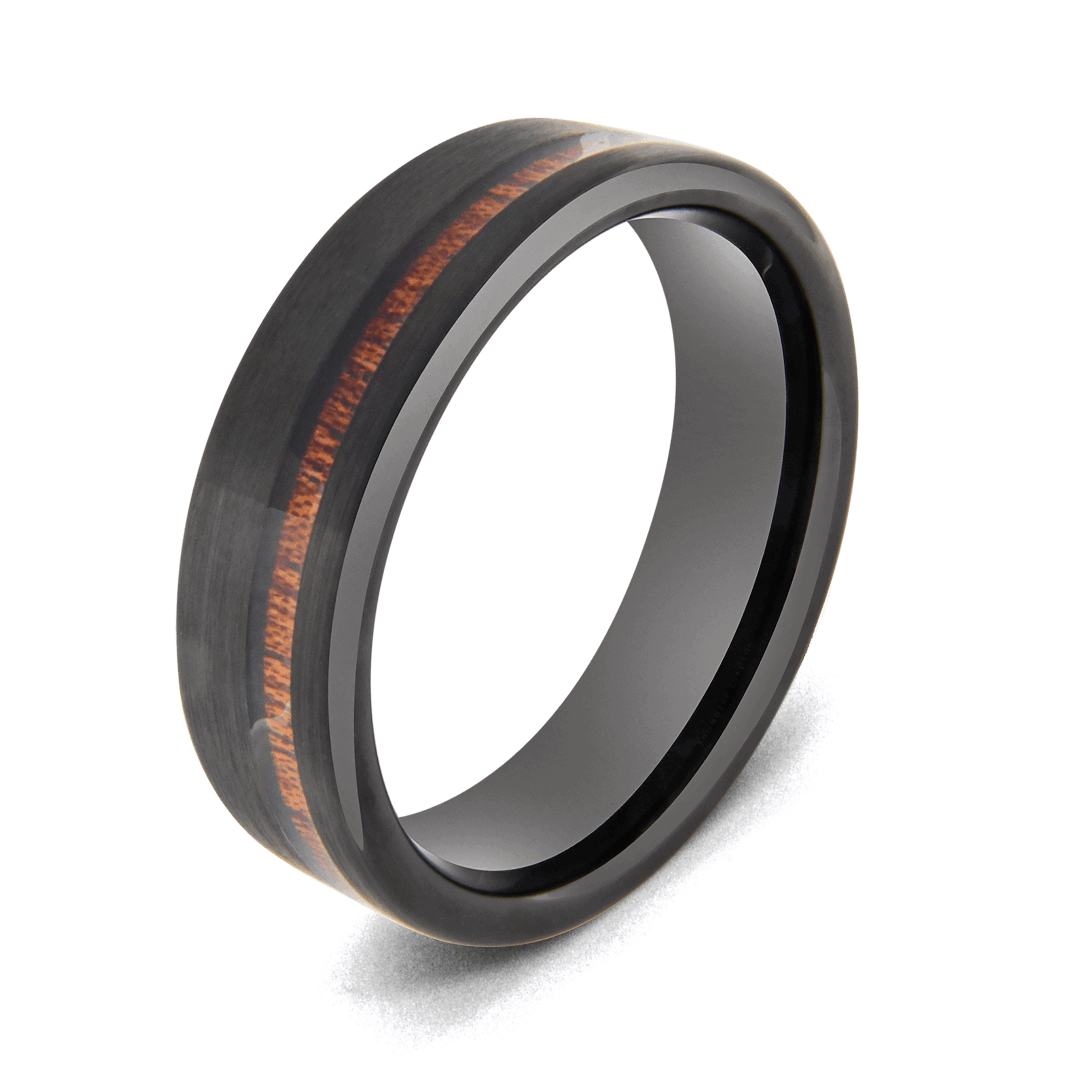 Black Men's Ring with Inlay of Natural Wood